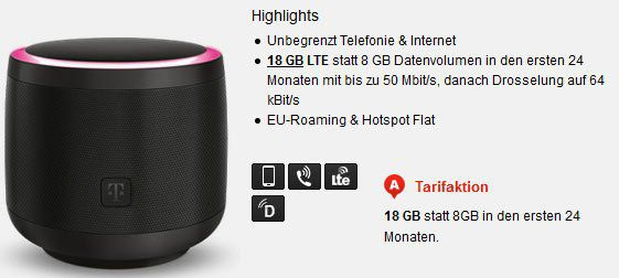 Telekom Netz: 18GB LTE (50 Mbit/s) mit AllNet Flat für 24,99€ mtl. + Telekom Smart Speaker für 1€