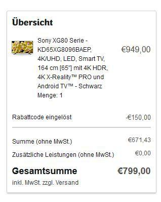 SONY KD65XG8096   65 Zoll UHD HDR Android TV für 799€ (statt 909€)