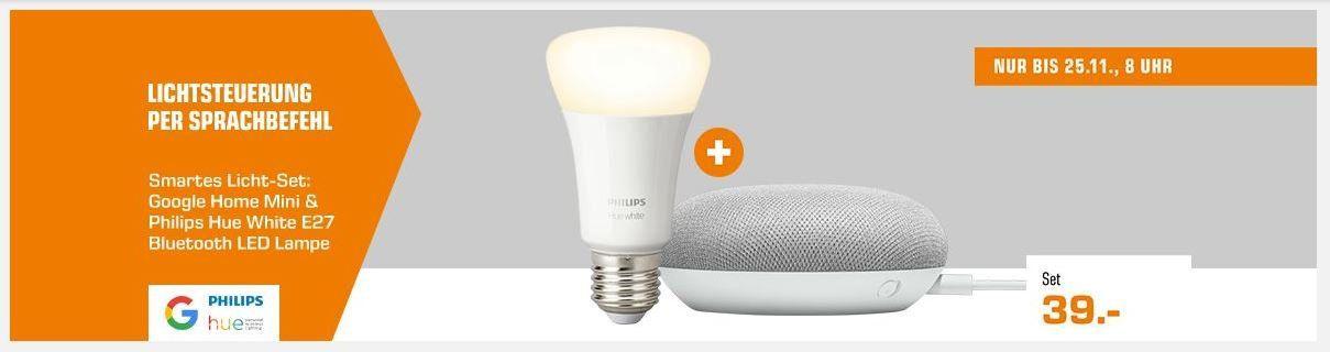 Google Home Mini + Philips Hue E27 White LED für 39€ (statt 57€)