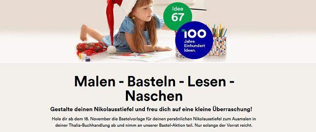 Thalia: Nikolausstiefel zum Basteln abholen und gratis befüllen lassen