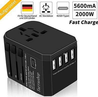 2000W/5600mA Reiseadapter mit 4x USB & 1 Type C Port für 16,73€ (statt 24€)