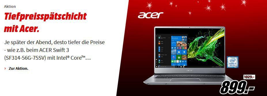 Media Markt Acer Tiefpreisspätschicht: z. B. ACER Nitro 50  Ryzen 5 Gaming PC 16 GB RAM, 1 TB HDD, 256 GB SSD für 949€ (statt 1.149€)