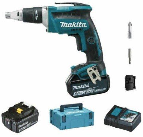Makita DFS451 Akku Schnellbauschrauber (2 x 5,0 Ah im Makpac) für 279,99€ (statt 310€)
