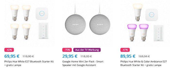 Philips Hue White E27 Bluetooth Starter Kit + Google Nest Hub für 124€ (statt 171€)   viele weitere Deals!