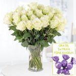 40 weiße Rosen (40cm) + 3 Milka Feine Kugeln für 24,90€ inkl. VSK