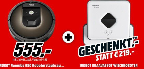 iRobot Roomba 980 Saugroboter + Nasswischroboter ab 555€ (statt 613€)   Paydirekt