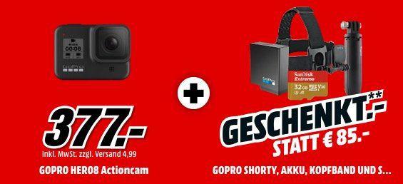 GoPro HERO8 Black Bundle inkl. Shorty Stativ, Speicherkarte, Kopfbügel und 2. Akku für 377€ (statt 470€)