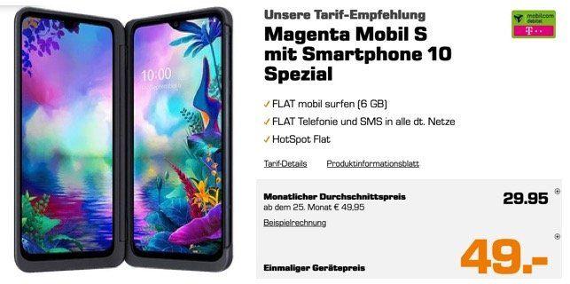LG G8X Thinq (DualScreen) für 49€ mit Telekom Magenta Mobil S mit 6GB LTE300 für 29,99€ mtl.