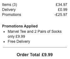 2 Paar Marvel Socken + T Shirt für 11,81€ (statt 28€)