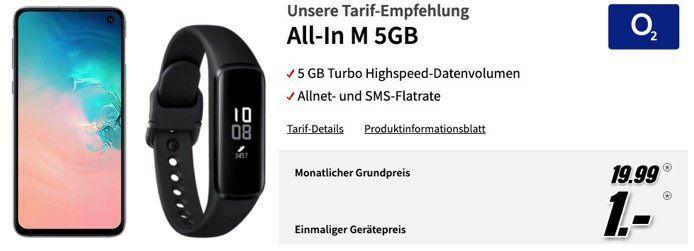 Ausverkauft! Galaxy S10e in Weiss + Fit e + Buds für 1€ + o2 Allnet Flat mit 5GB LTE für 19,99€ mtl.   oder Vodafone 4GB für 17,99€