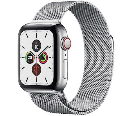 Ausverkauft! Apple Watch Series 5 (GPS + Cellular, 44 mm) mit Edelstahlgehäuse + Milanaise Armband für 579€ (statt 799€)