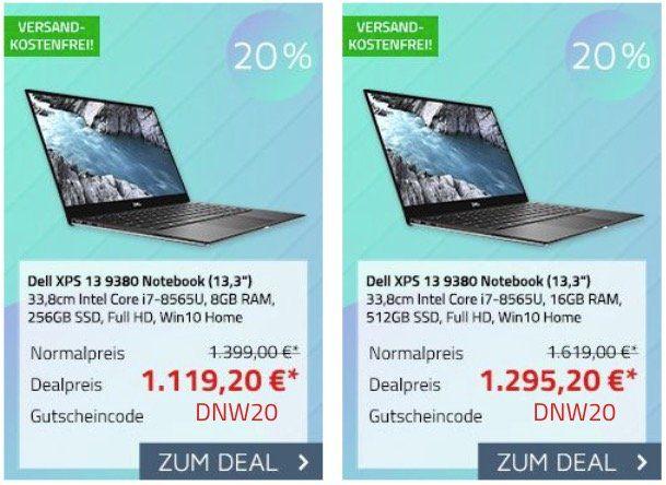 20% Rabatt auf ausgewählte Dell Notebooks   z.B. Dell XPS 13 (9380) mit i7 + 512GB SSD für 1.295€ (statt 1.619€)