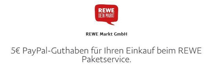 5€ PayPal Guthaben für nächsten Einkauf ab 50€ beim REWE Paketservice