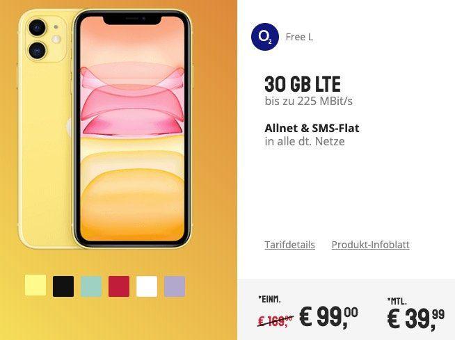 iPhone 11 in vielen Farben für 99€ + o2 Flat mit 30GB LTE für 39,99€mtl.   junge Leute 60GB!