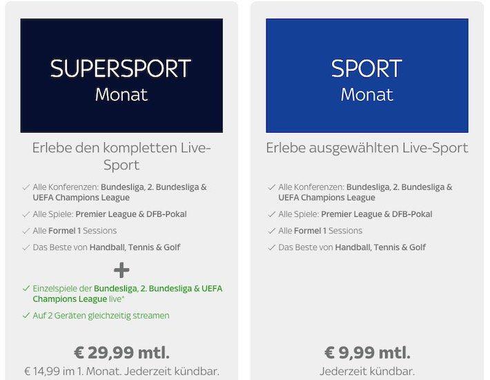 Sky Sport Ticket für 9,99€ mtl. + monatlich kündbar