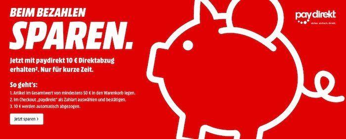 Bei MediaMarkt und Saturn bei Paydirekt Zahlung ab 50€ Warenwert 10€ sparen