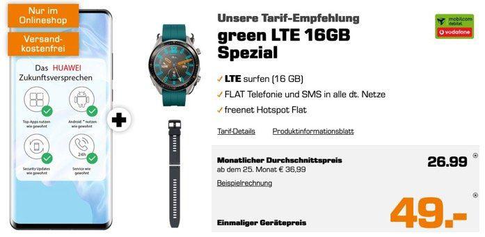 Huawei P30 Pro + Watch GT Active für 49€ + Allnet Flat Vodafone Netz + 16GB LTE für 26,99€mtl.