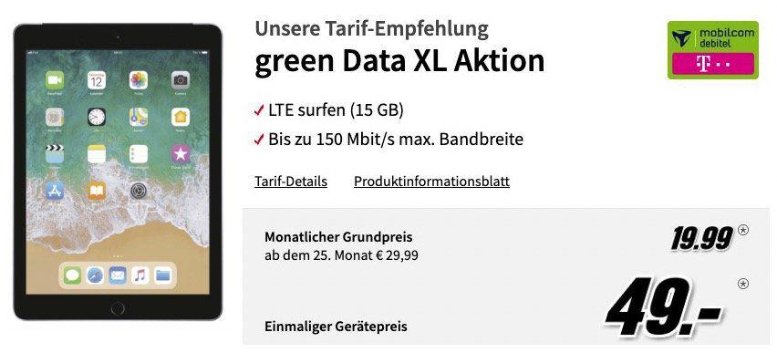 Apple iPad 10,2 Zoll (2019) für 49€ + Telekom Datentarif mit 15GB LTE für 19,99€ mtl.