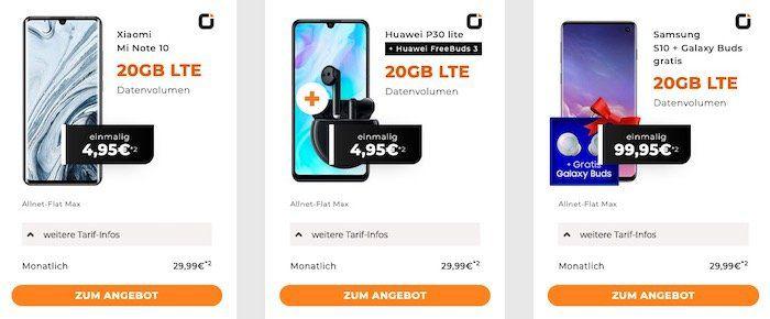 Otelo Allnet Flat im Vodafone Netz mit 20GB LTE für 29,99€ mtl.   dazu z.B. Xiaomi Mi Note 10 für 4,95€