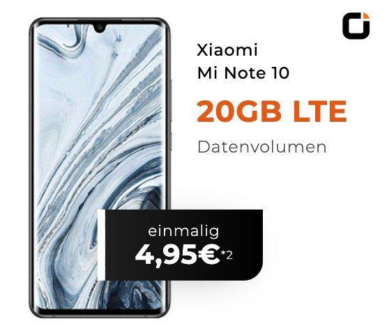 Xiaomi Mi Note 10 für 4,95€ + Vodafone Flat mit 20GB LTE für 29,99€mtl.