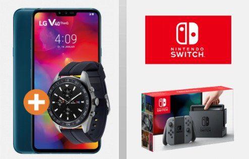 LG V40 ThinQ inkl. LG W7 Watch + Nintendo Switch für 99,95€ + Telekom Flat mit 6GB LTE für 49,95€mtl.   junge Leute 34,95€mtl.