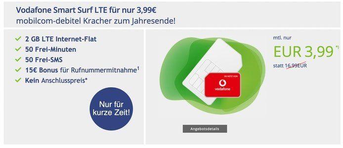 Nur noch heute 🔥 Vodafone Smart Surf mit 50 Min/SMS + 2GB LTE für 3,99€ mtl. ohne Anschlussgebühr!