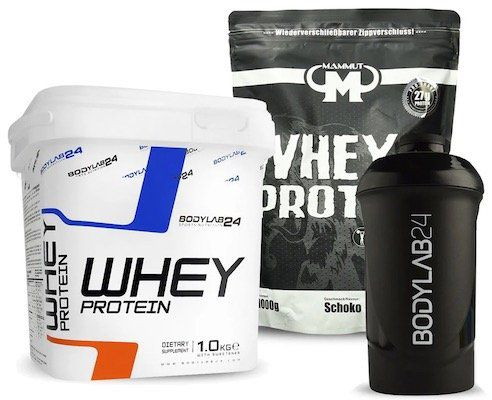 bodylab24 Whey Protein (1kg) + Mammut Whey Protein Schoko (1kg) + Shaker für 19,99€ (statt 32€)