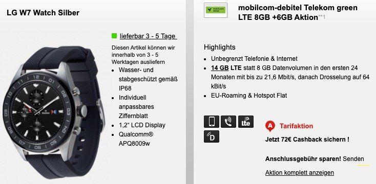 Telekom Flat mit 14GB LTE für 19,99€ mtl. + 72€ Cashback + LG W7 Smartwatch für 1€