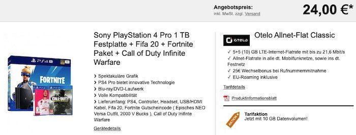 PS4 Pro inkl. Fifa 20 + Fortnite Paket + Call of Duty Infinite Warfare für 24€ + Vodafone Flat mit 10GB LTE für 19,99€mtl.