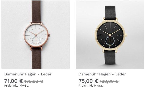 Skagen Hagen Damenuhr in 2 Ausführungen für 71€bzw. 75€