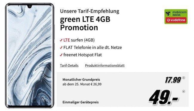Xiaomi Mi Note 10 Pro für 49€ + Vodafone Flat mit 4GB LTE für 17,99€mtl.