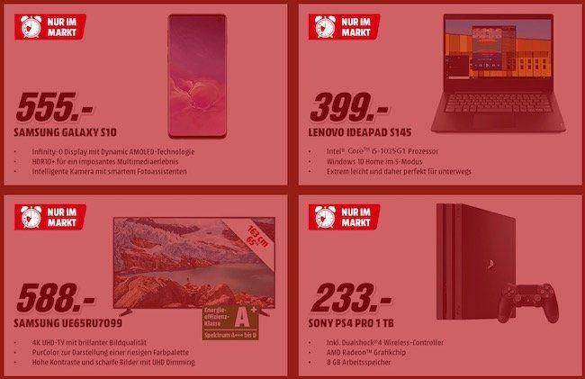 Media Markt Frühshoppen am 27.12.   Galaxy S10 nur 555€ (statt 609€) oder PS4 Pro nur 233€ (statt 299€)