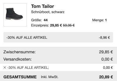 Schnell? Tom Tailor Schnürboots 1031488 in Schwarz für 20,89€ (vorher 60€)