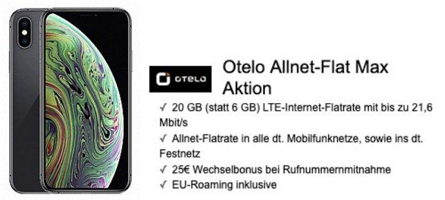 Apple iPhone XS für 99,95€ + Vodafone Flat mit 20GB LTE für 29,99€ mtl.