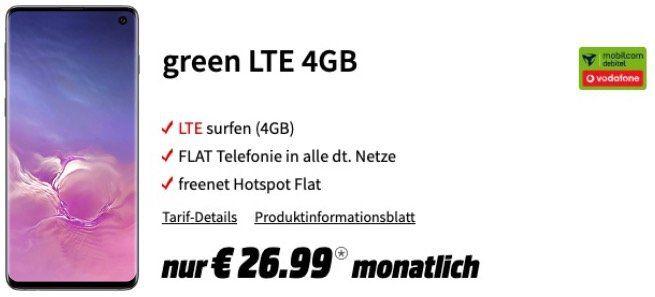 Samsung Galaxy S10 für 29€ + Vodafone Netz Flat mit 4GB LTE für 26,99€ mtl.