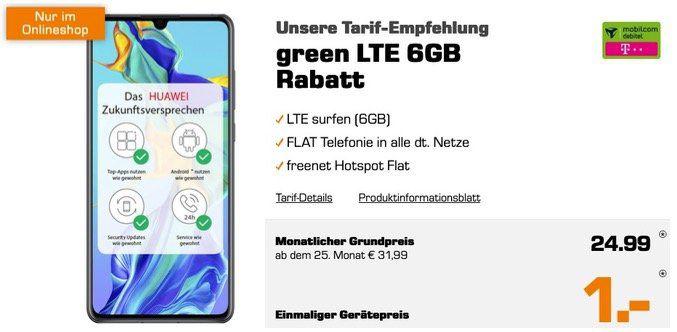 Huawei P30 mit 128GB für 1€ + Telekom Allnet Flat mit 6GB LTE für 24,99€ mtl.