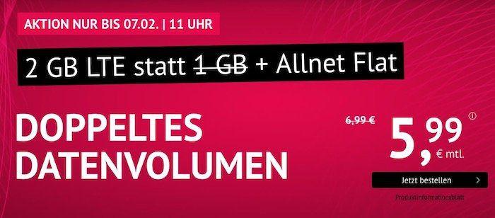 Allnet Flat im O2 Netz mit 2GB LTE 50Mbit für 5,99€   monatlich kündbar + keine AG bei Laufzeit