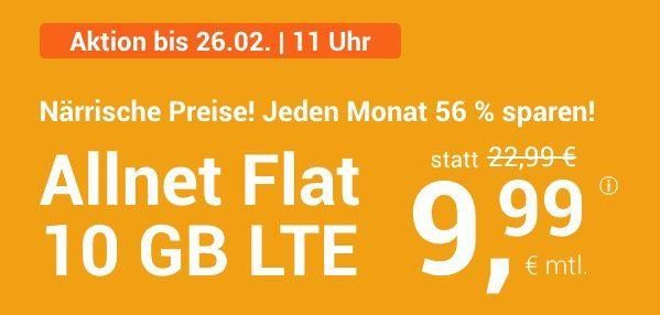 🔥Knaller! o2 Allnet Flat mit 10GB LTE für 9,99€ (statt 23€) + mtl. kündbar