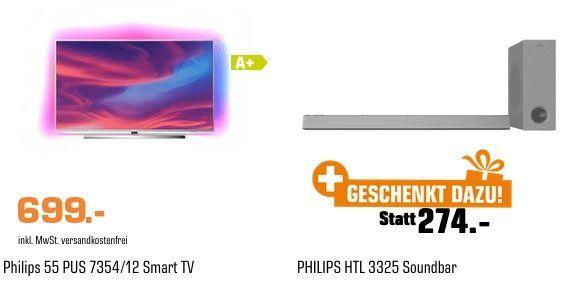 🔥 Philips 55PUS7354 55 Zoll UltraHD Fernseher + HTL3325 Soundbar für 699€ (statt 973€)
