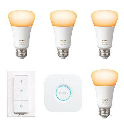 4er Pack Philips Hue White Ambiance E27 Bluetooth Leuchten + Schalter + Bridge für 99,95€ (statt 138€)