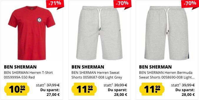 Ben Sherman Sale bei SportSpar   z.B. Badelatschen 7,77€ oder Poloshirt 17,99€