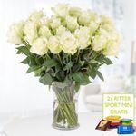 40 weiße Rosen (40cm) + 2 Mini-Schokis + Grußkarte für 24,90€ inkl. VSK
