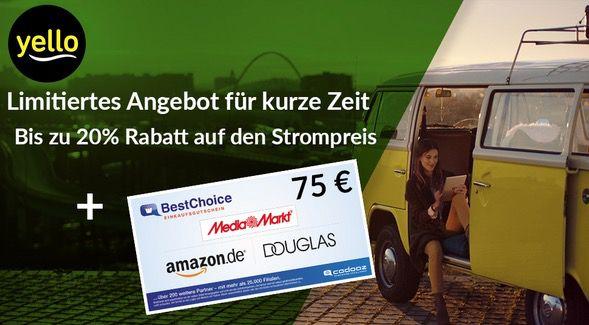 Yello Basic Stromangebote mit bis 20% Rabatt + 75€ Bestchoice Gutschein