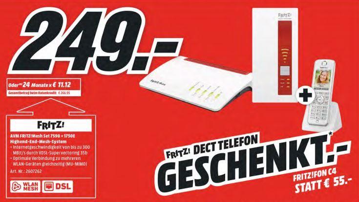 AVM FRITZ! Mesh Set 7590 + 1750 Mesh Set + AVM FRITZ!Fon C4 für 249€ (statt 310€)