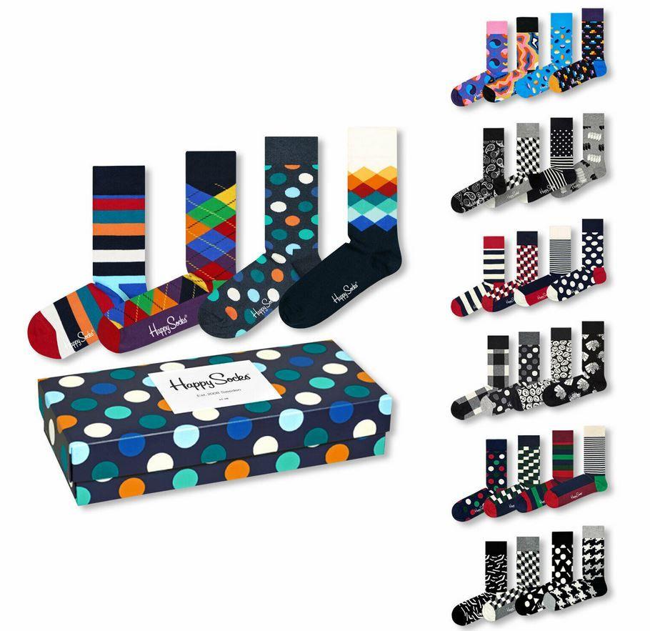 Happy Socks 4 Paar Unisex Socken in Geschenkbox für 24,99€ (statt 36€)