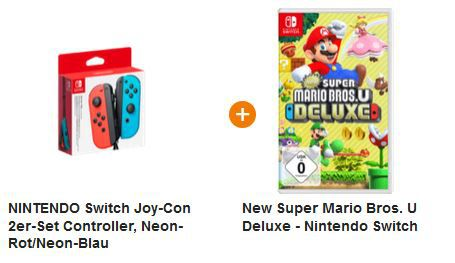 Vorbei! Nintendo Switch Joy Con 2er Set + Mario Bros. U ab 79€ (statt 116€)