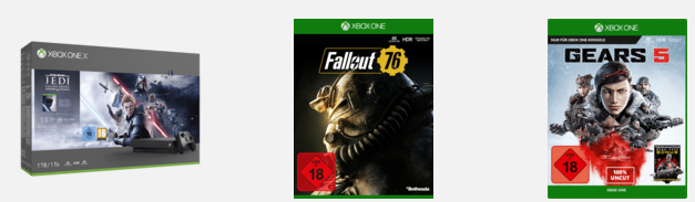 XBOX ONE X 1TB Konsole + Star Wars Jedi: Fallen Order + Gears 5 + Fallout 76 für 334,98€ (statt 377€)