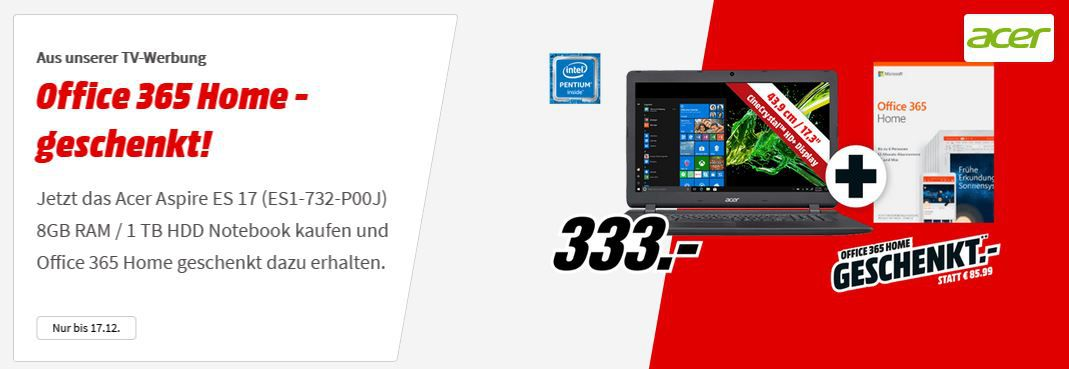 ACER Aspire ES 17   17.3 Notebook intelN4200 CPU, 8GB RAM, 1TB HDD + Office 365 Home ab 333€ (statt 448€)