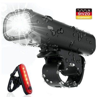 Pezimu LED Fahrradlicht Set mit StVZO Zulassung mit Front  und Rücklicht und Akku für 11,99€ (statt 18€)