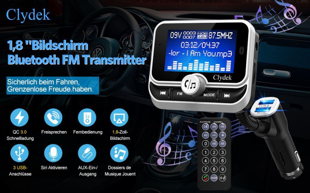 Clydek Auto USB Ladegerät mit 1.8 Zoll FM Transmitter für 18,59€ (statt 31€)